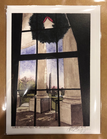 "White House View at Christmas | Print Card by Carole Moore Biggio | 5"" x 7"""