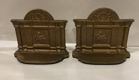 Vintage Patriotic Betsy Ross Book Ends | Betsy Ross Bookends | Cast Iron Gold Finish | Vintage 1950's-Antique Artifact-Sterling-and-Burke