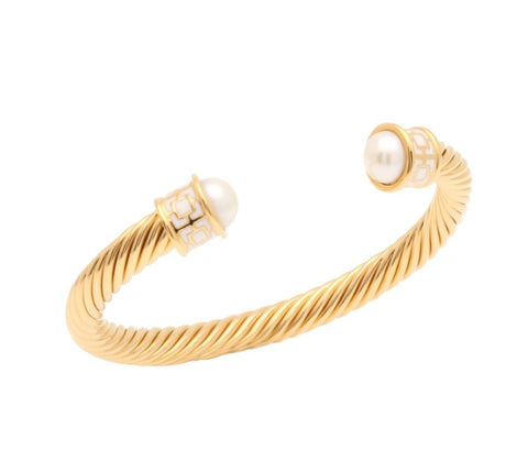 Halcyon Days Maya Open Twist Wire Bracelet in Cream and Gold