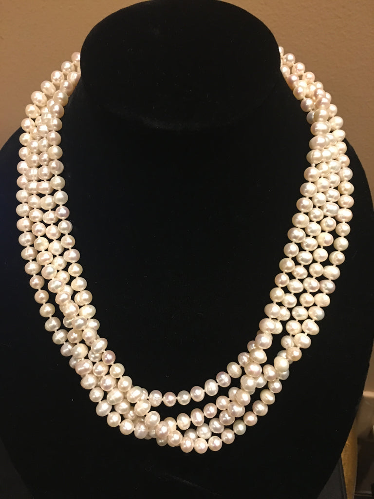 "Pearl Necklace | Fresh Water Pearls | Single Strand | Hand Knotted Pearls | 86"" Necklace 