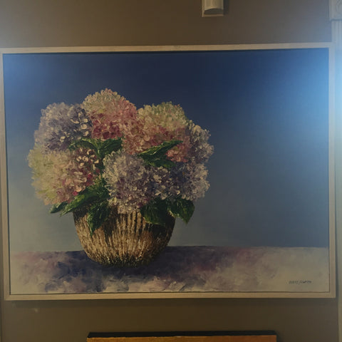Beach Hydrangeas | Original Oil Painting | 40 by 30 Inches | Artist Claire Howard | sold-Oil Painting-Sterling-and-Burke