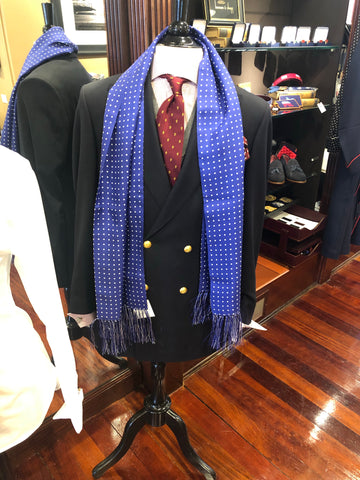 Budd Scarf | Tuxedo Scarf | All Silk | Atkinson Silk Formal Wear Scarf | Royal Blue and White | Budd Shirtmakers | Made in England