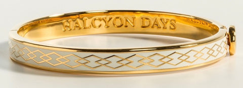 Halcyon Days 6mm Skinny Parterre Chain Enamel Bangle in Cream and Gold
