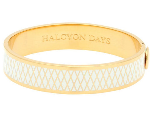 Halcyon Days 13mm Parterre Hinged Enamel Bangle in Cream and Gold