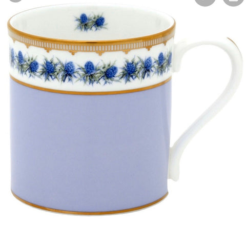 Halcyon Days Shell Garden Floral Thistle Mug in Lilac-Bone China-Sterling-and-Burke