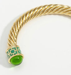 Halcyon Days Maya Open Twist Wire Bracelet in Emerald and Gold-Jewelry-Sterling-and-Burke