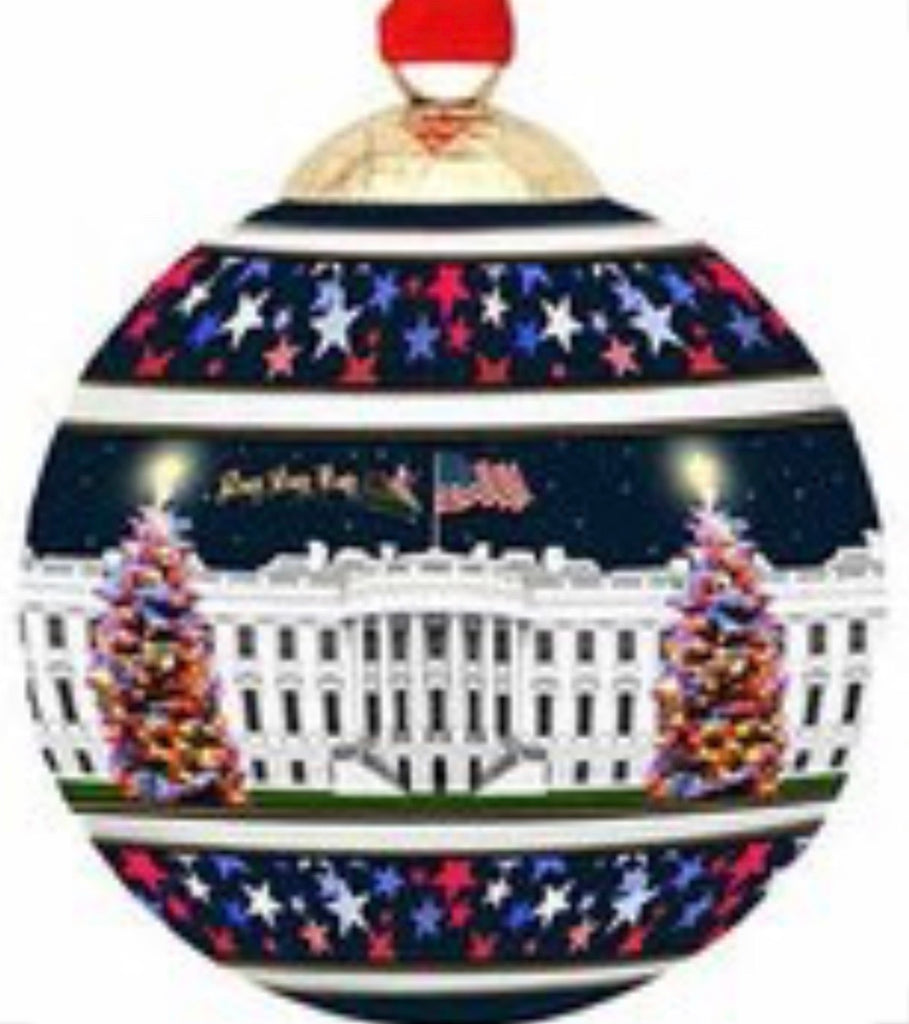 Halcyon Days White House at Christmas Bauble-Ornament-Sterling-and-Burke