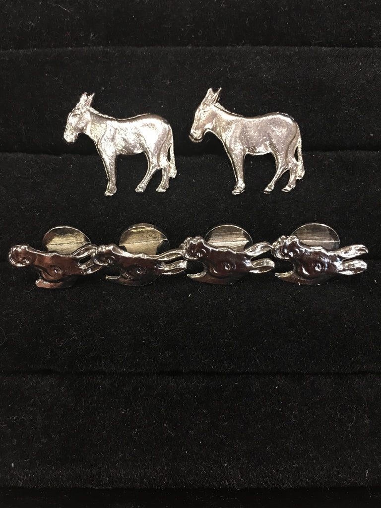 Democratic Donkey Stud Set | Patriotic and Political Silver Plate Stud Set | Sterling and Burke-Cufflinks-Sterling-and-Burke