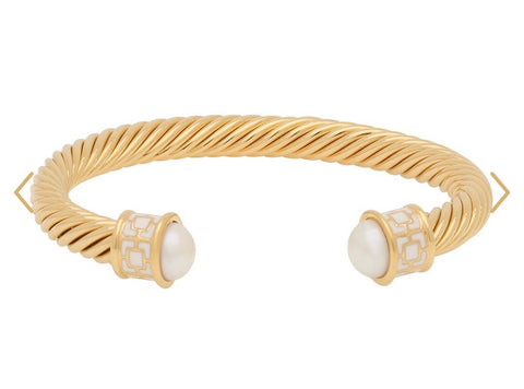 Halcyon Days Maya Open Twist Wire Bracelet in Cream and Gold-Jewelry-Sterling-and-Burke