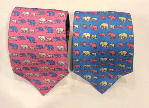 Elephant Duo Motif Foulard | Silk Tie | Budd Shirtmakers | Made in England