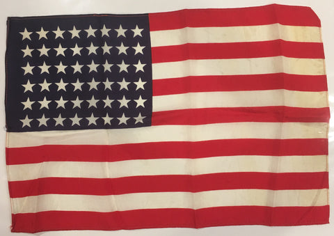 American Flag | 48 Star Antique Vintage US Flag | Silk | 17 by 11.5 Inches | No.3-Vintage Flag-Sterling-and-Burke