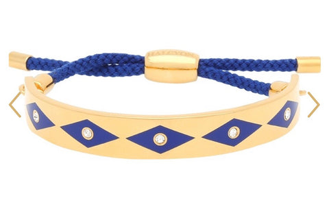 Enamel Bangle | 1cm Parterre Sparkle Friendship Bangle | Deep Cobalt and Gold | Halcyon Days | Made in England