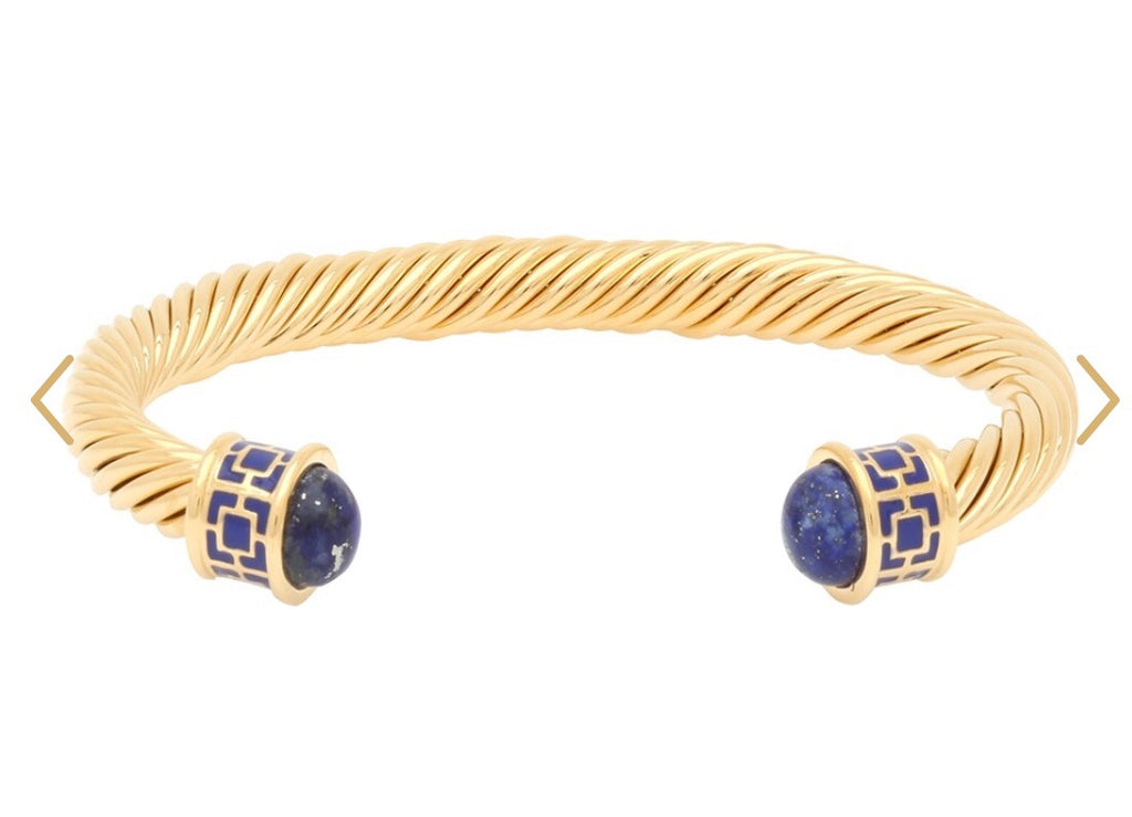 Halcyon Days Maya Open Twist Wire Bracelet in Deep Cobalt and Gold-Jewelry-Sterling-and-Burke
