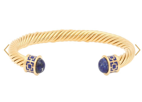 Halcyon Days Maya Open Twist Wire Bracelet | Maya Torque Enamel in Deep Cobalt and Gold