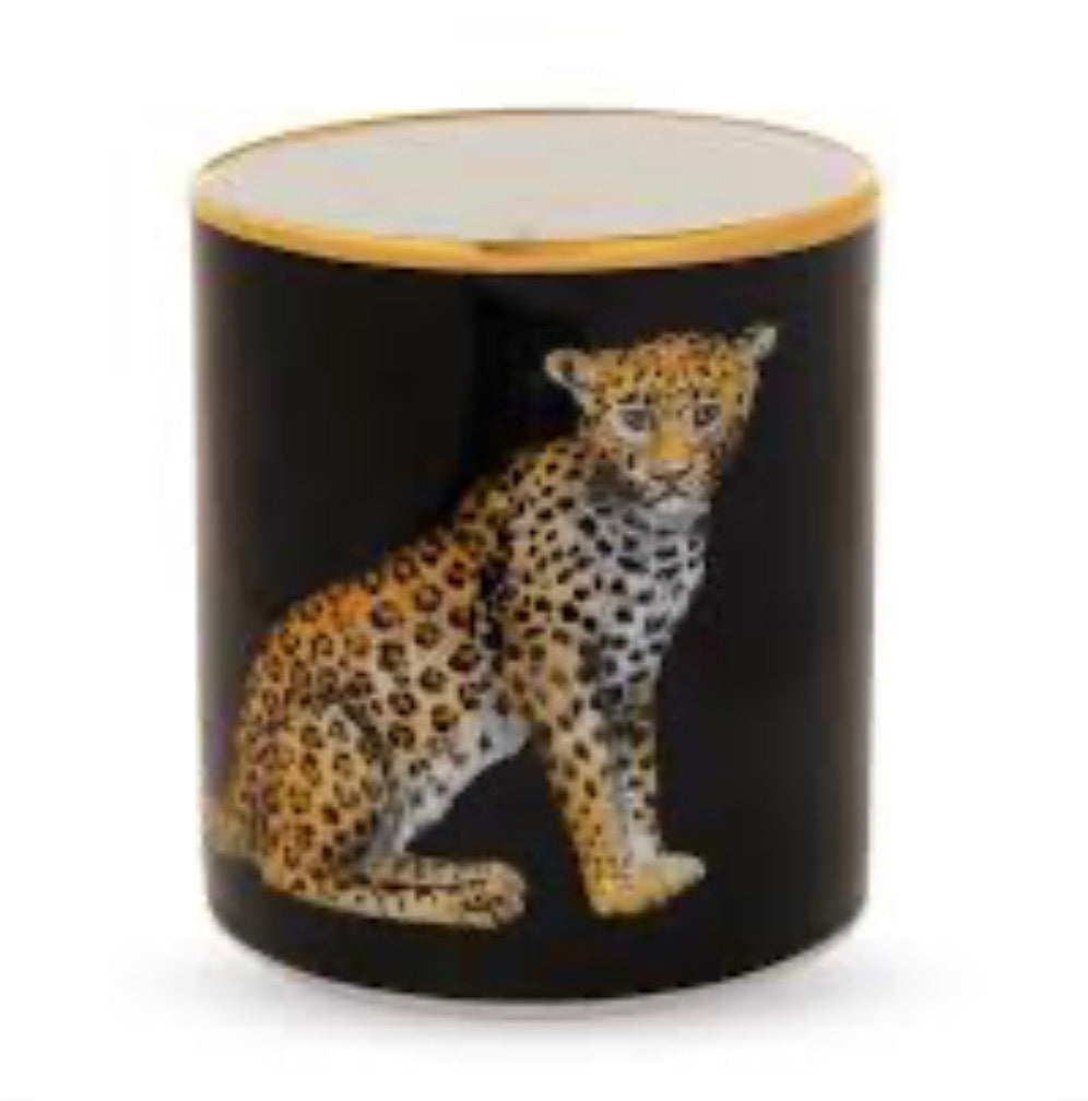 Halcyon Days Leopard Empty Candle Holder in Black-Candle Holder-Sterling-and-Burke