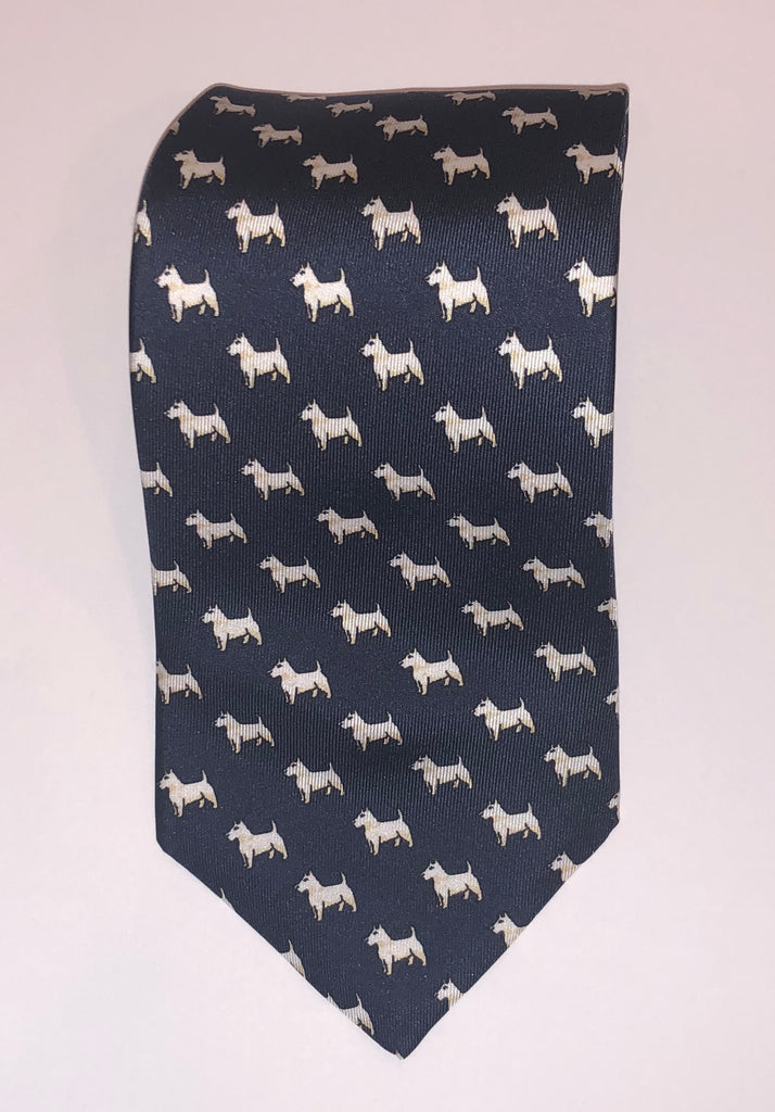 Scottish Terrier Motif Foulard, Navy | Silk Tie | Budd Shirtmakers | Made in England-Necktie-Sterling-and-Burke