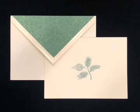Dempsey & Carroll Stationery | Seasons Greetings Christmas Card | Lined Envelope with Green Tissue | Single Card with Envelope | Sterling and Burke