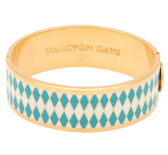 Enamel Bangle | 19mm Parterre Turquoise, Cream, and Gold Bangle | Halcyon Days | Made in England-Bangle-Sterling-and-Burke