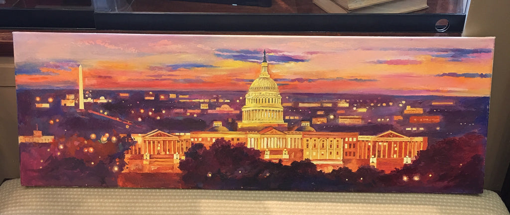 "Red Capitol Panorama | Washington, DC Art | Original Oil and Acrylic Painting on Canvas by Zachary Sasim | 12"" by 36"" 