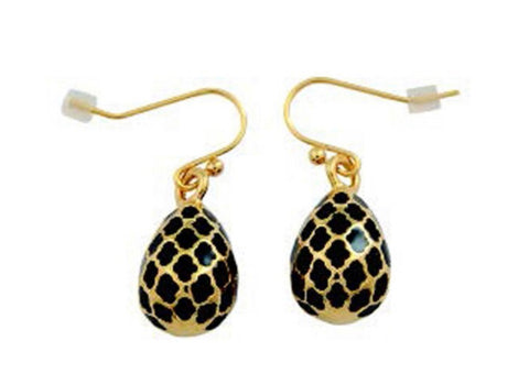 Enamel Earrings | Agama Egg Earnings | Black and Gold | Halcyon Days | Made in England