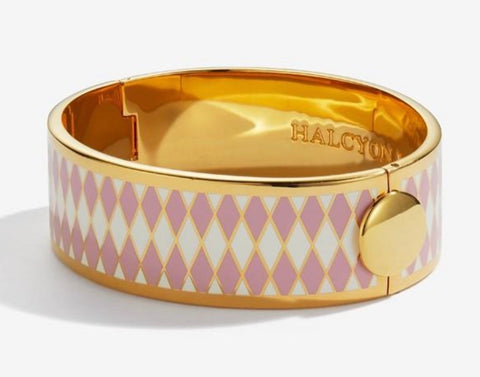Halcyon Days 19mm Parterre Hinged Enamel Bangle in Pink, Cream, and Gold
