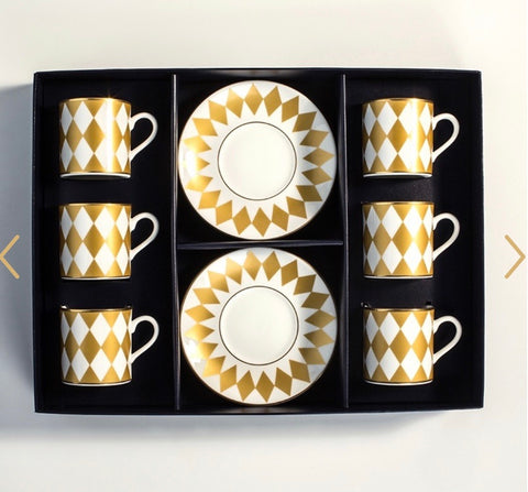 Halcyon Days Parterre Gold Coffee Cups & Saucers, Set of 6-Bone China-Sterling-and-Burke