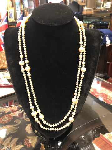 "Pearl Necklace | Fresh Water Pearls | Single Strand | Hand Knotted Pearls | 52"" Necklace 