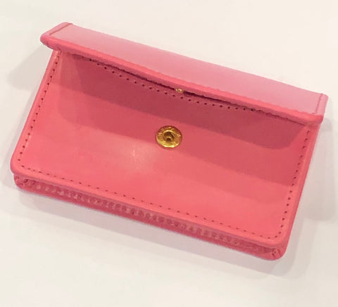 Business Card Case with Snap | English Leather | Red, Black, and Pink | Sterling and Burke-Business Card Case-Sterling-and-Burke