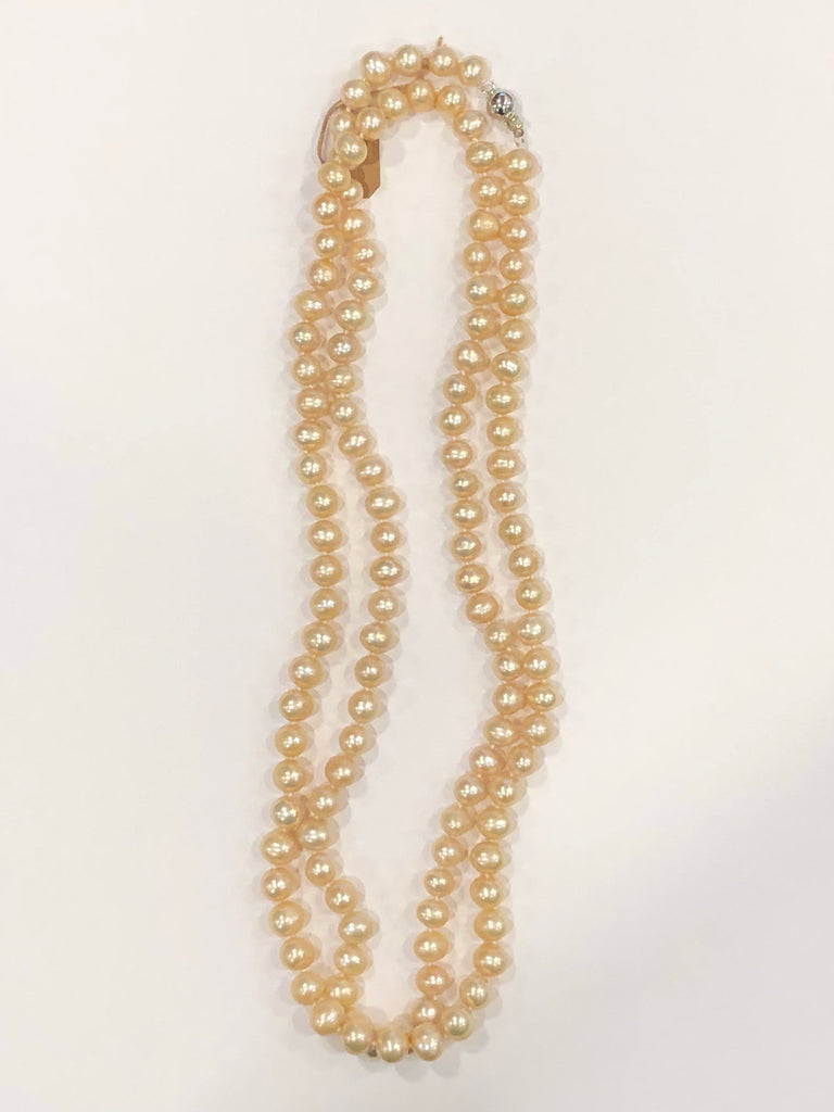 "Pearl Necklace | Fresh Water Pearls | Single Strand | Hand Knotted Pearls | 36"" Necklace 