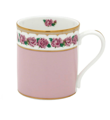 Halcyon Days Shell Garden Floral Rose Mug in Pink-Bone China-Sterling-and-Burke
