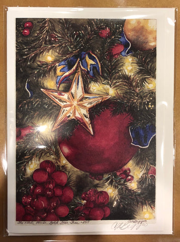 "White House Gold Star Tree | Print Card by Carole Moore Biggio | 7"" x 5"""