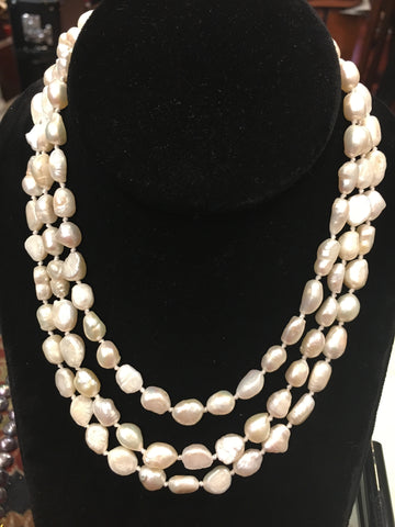 "Pearl Necklace | Fresh Water Pearls | Single Strand | Hand Knotted Pearls | 47"" Necklace 