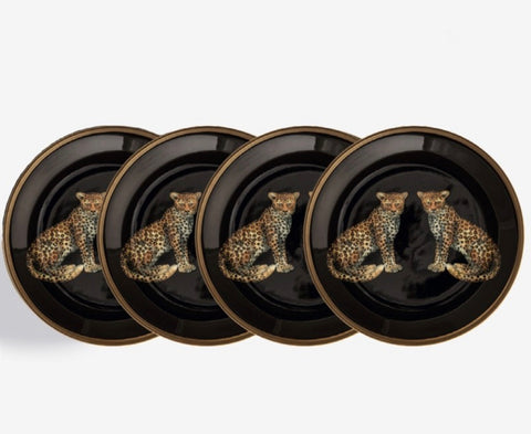 Halcyon Days Magnificent Wildlife Twin Leopard Coasters, Set of 4
