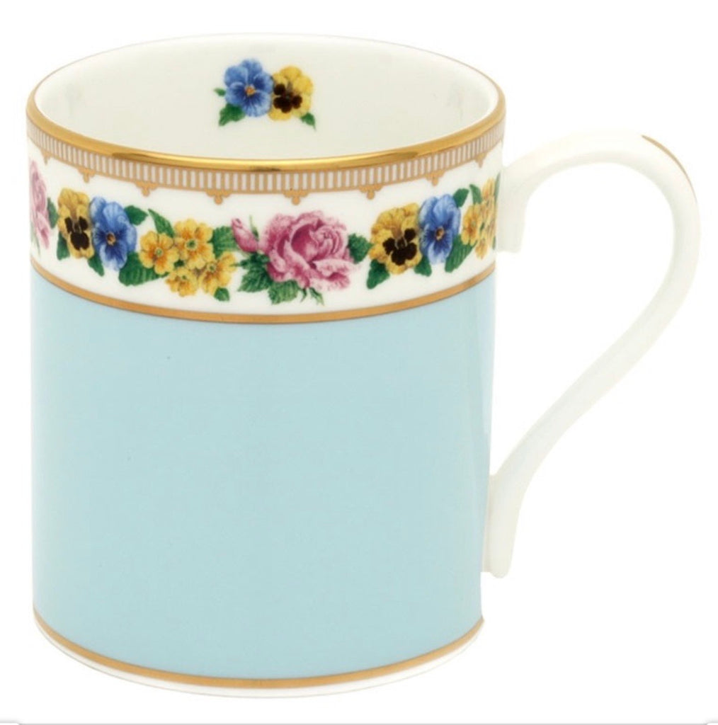 Halcyon Days Shell Garden Mug in Cornflower Blue-Bone China-Sterling-and-Burke