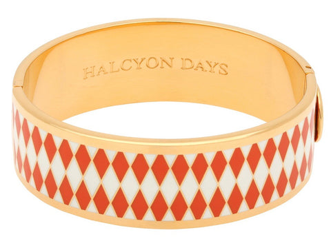 Halcyon Days 19mm Parterre Hinged Enamel Bangle in Orange, Cream, and Gold