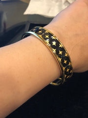 Halcyon Days 1cm Star Push Bangle in Navy and Gold | Sterling & Burke-Bangle-Sterling-and-Burke