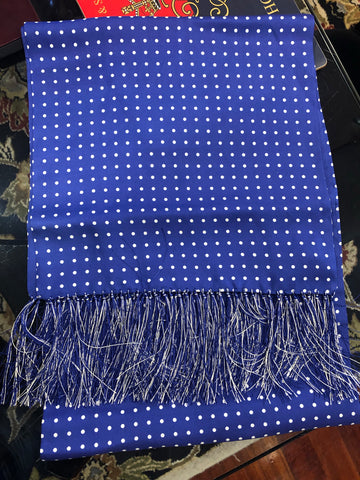 Budd Scarf | Tuxedo Scarf | All Silk | Atkinson Silk Formal Wear Scarf | Royal Blue and White | Budd Shirtmakers | Made in England-Silk Scarf-Sterling-and-Burke