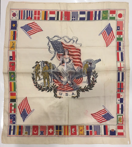 USA & Flags of Countries | Vintage Flag Handkerchief | 14.5 by 16.5 Inches-Vintage Handkerchief-Sterling-and-Burke