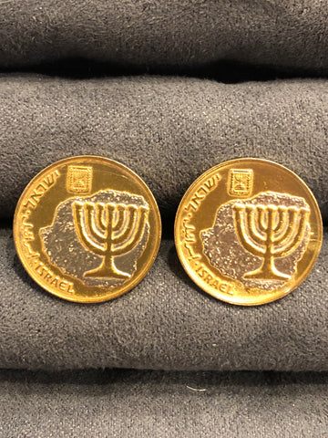 Israel Coin Cufflinks | Israeli Menorah on Papyrus Coin Cufflinks | Hand Painted | Finest Quality | Made in USA by Sterling and Burke | Gold and Silver