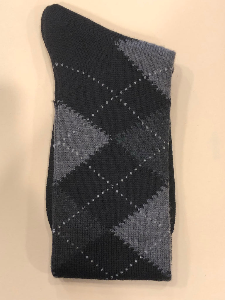 Budd Socks | Argyle Wool Short Socks | Black and Grey | Budd Shirtmakers | Made in England-Socks-Sterling-and-Burke