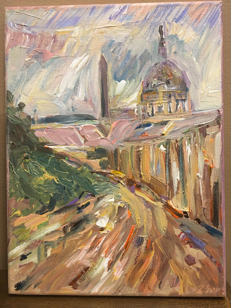 DC Meets Paris, Original Oil and Acrylic on Canvas, 9 by 12 inches-Oil and acrylic-Sterling-and-Burke