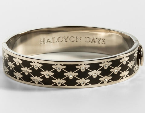 Halcyon Days 13mm Bee Sparkle Trellis Hinged Enamel Bangle in Black and Palladium-Jewelry-Sterling-and-Burke
