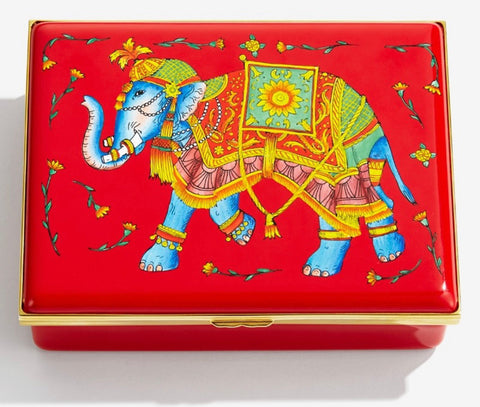 Halcyon Days Ceremonial Indian Elephant Enamel Box, Large-Prestige Box-Sterling-and-Burke