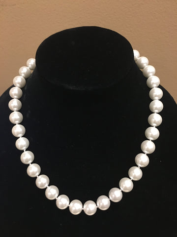 "Pearl Necklace | Salt Water Pearls | Single Strand | Hand Knotted Pearls | 18"" Necklace 