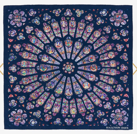 Halcyon Days The Rose Window at Westminster Abbey Silk Scarf in Navy, 36 by 36 Inches