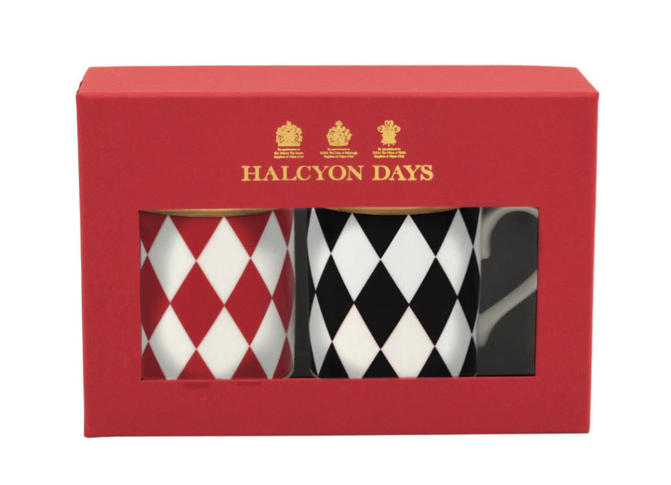 Halcyon Days Parterre Mugs in Red and Black, Set of 2-Bone China-Sterling-and-Burke