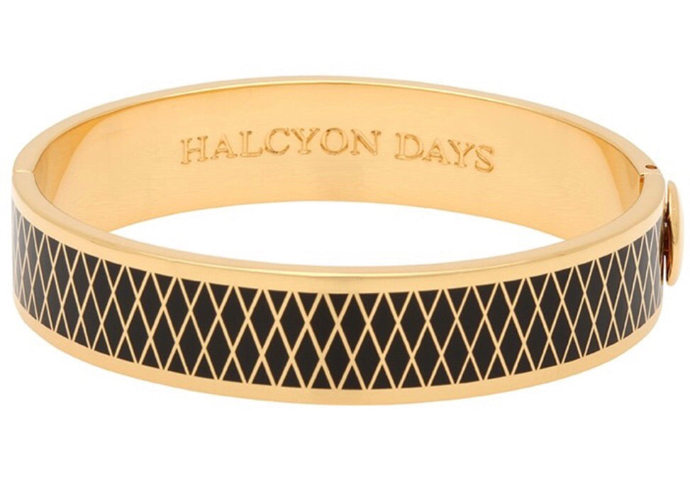 Enamel Bangle | 13mm Parterre Black and Gold Bangle | Halcyon Days | Made in England-Bangle-Sterling-and-Burke