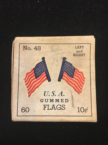 NEW - Vintage 48-Star Flag Gummed Stickers Decals Original Box USA Pre-1959