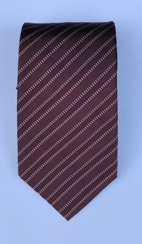 Dotted Stripe | Wine and Cream | Silk Tie in Wine | Benson and Clegg | Made in England