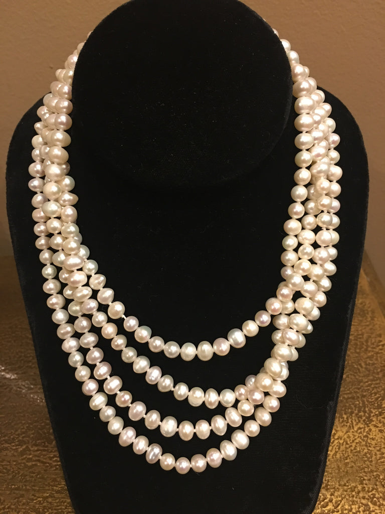 "Pearl Necklace | Fresh Water Pearls | Single Strand | Hand Knotted Pearls | 68"" Necklace 
